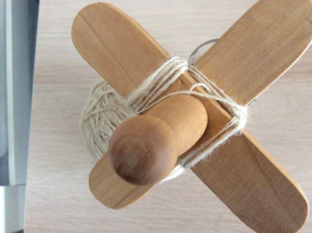 kreuzspindel wickeln - 6. Faden Wickeln wechseln zur Unterseite - hier auch unter 1 über 2
